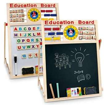 2 in 1 Writing Board Slate Double Sided Educational Board with Magnetic Alphabets Numbers Maths Learning Toy for Kids