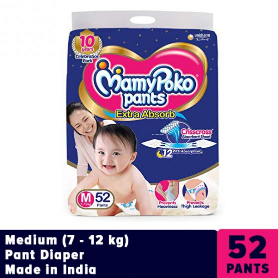 MamyPoko Medium (M) Pant Diaper (7 – 12 kg)- 52 Pcs