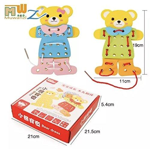 Wooden Bear Dress Lacing Toy