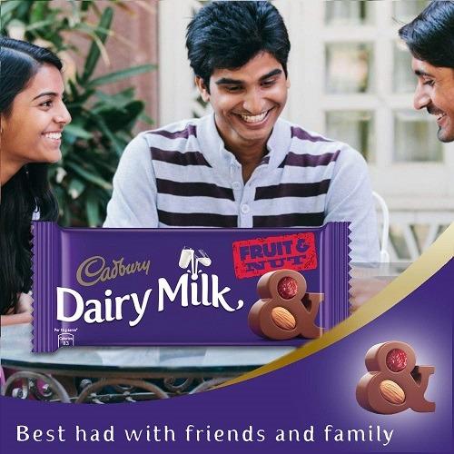 Cadbury Dairy Milk Fruit and Nut Chocolate Bar 36gmCadbury Dairy Milk Fruit and Nut Chocolate Bar 36gm