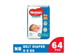 Huggies Dry Belt Diaper New Born-64 Pcs (0-5 Kg)