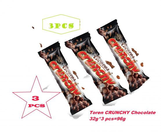 Toren Cococoz Crunchy Dark Coconutbar with Milky Compound Crispied rice white Chocolate-96g 3 PCS