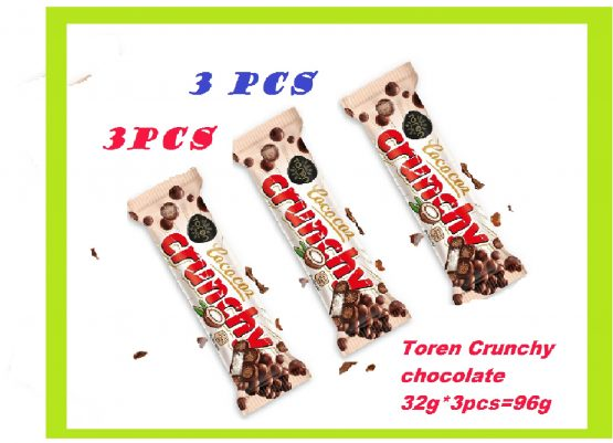 Toren Cococoz Crunchy Coconutbar with Milky Compound Crispied rice white Chocolate-96g 3 PCS