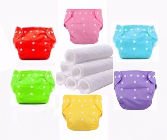 Reusable Baby Cloth Daiper -(3 kg to 15 kg) -Multi-Color (6 PCs Daipers with 6 cloth)