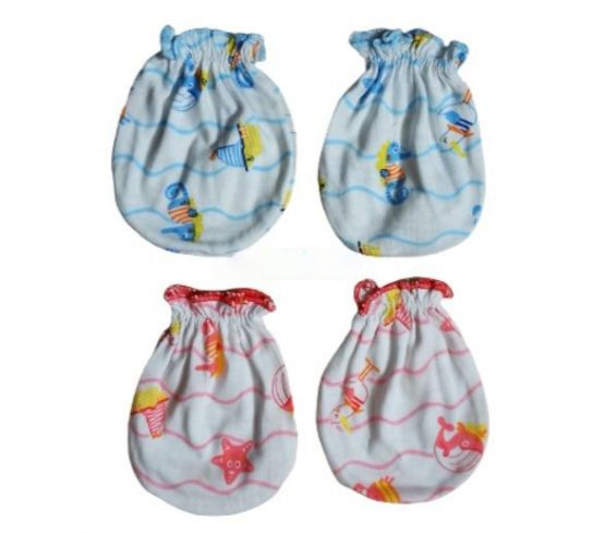 Baby Gloves 2 Pair Multicolor (0-6 Months)(Thailand)