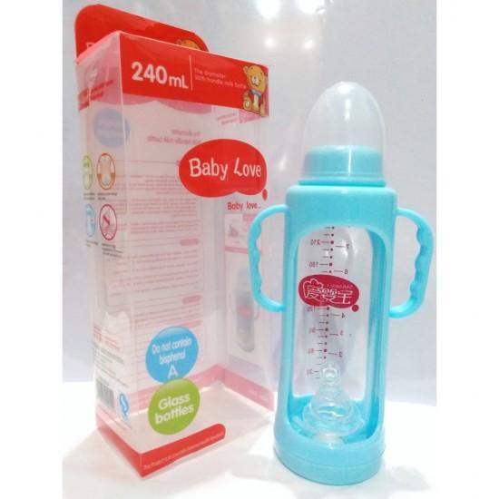 Baby Love Glass Feeder – 240ml-Sky blue