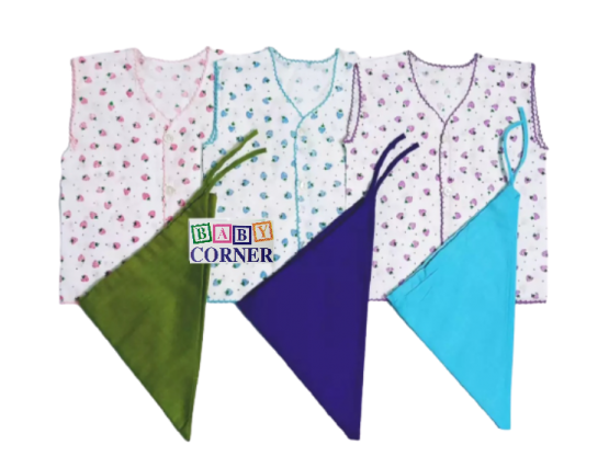 New Born Baby Nima 3 pcs and Nappy 3 pcs -Multicolor(0-6 Months)