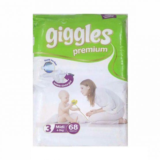 Giggles Premium Extra Absorbent Baby Diaper Size 3 jumbo pack belt (4-9 kg):68 pcs(Turkey)
