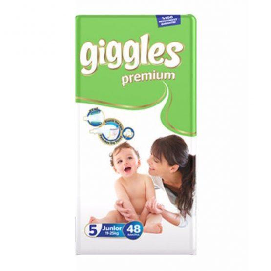 Giggles Premium Extra Absorbent Baby Diaper Size 5 jumbo pack belt (11-25 kg):48 pcs (Turkey)