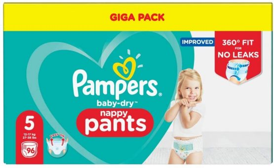 Pampers Baby – Dry Nappy Pants Giga Pack Size 5 (12-17 Kg) 96 Pants