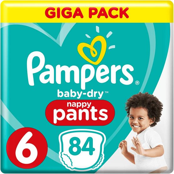 Pampers Baby – Dry Nappy Pants Giga Pack Size 6 (15+ Kg) 84 Pants