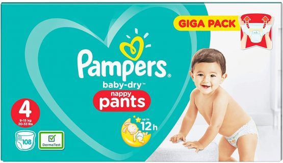 Pampers Baby – Dry Nappy Pants Giga Pack Size 4 (8-14 Kg) 108 Pants