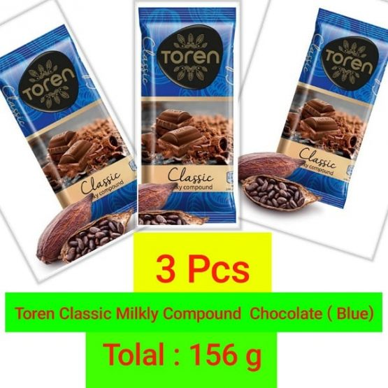 Toren Classic Milky Compound Chocolate (Blue) lovely tasty-156g (3 Pcs)