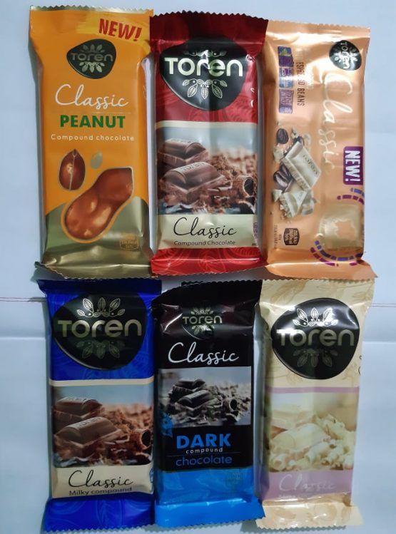 Toren Classic Milky Compound With 6 Flavor Chocolate lovely tasty Chocolate – 312gm (6 Pcs)